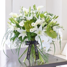 Luxury White Lily and Anthurium  Contemporary Hand tied *